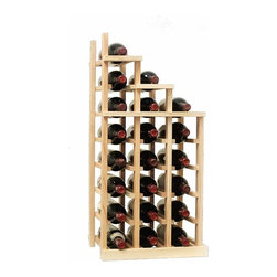 Wine Cellar Innovations - Waterfall 2 Falling Right Vintner Series in Rustic Pine, Unstained - The Vintner Series WATERFALL2 Display provides the perfect showcase for the prized wine bottles you would like to show off. Individual bottle wine storage cascades down with a waterfall of display bottles on top. This waterfall option is compatible with the Vintner 3 column individual rack and can be combined with the WATERFALL1 and WATERFALL3 to create a larger cascade. You can have a waterfall display come out from a wall to the center of a room for a dramatic display effect. You may also choose to line a waterfall wine display along a wall. To achieve this unique look, we have a single bottle deep option that we have designed both in a left and right falling option. Product requires assembly. Moldings and platforms sold separately. Assembly required.