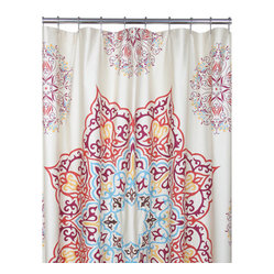Blissliving Home - Chanda Shower Curtain - Add a little bit of luxury to your bath with this 100 percent cotton shower curtain. The intricate medallion pattern in rich jewel tones and touches of metallic embroidery lend a majestic vibe.