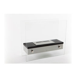 "EcoPyro ST-J003 Camden Table/Floor Ethanol Fireplace 18.5"", Stainless Steel/Blac - Concealed burner, brushed stainless steel body and rounded corners top the features of Camden. For those with space constraints, Camden can also be used as miniature free standing floor model. Slightly Larger in size, Camden can be used not only as a table top but as a miniature free standing fireplace. Camden's more refined appearance feature 4 stainless steel narrow profile cylinder buttons which hug tighter to the body, suspending it 1/4″ between each glass panel. The top surface of Camden features a black matte finish with a stainless steel inset burner. The main body is brushed stainless steel. Both glass panels touch the ground but the stainless steel body itself floats above the ground 2 3/4″. Slide the stainless steel panel to the open position during use and then close it for a finished appearance when the fireplace is not in use."