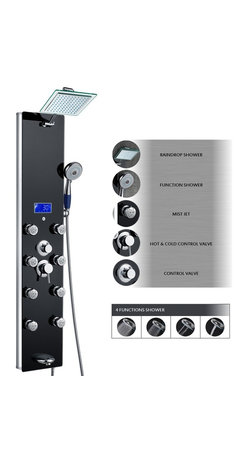 AKDY - Aluminum Shower Panel Tower With Rainfall Showerhead, Black - This new AKDY luxurious shower panel has just newly arrived to North America and it is one of the best shower panels you can find in the market. The body of the shower panel is made of high quality aluminum alloy and tempered glass. It comes with several functions, including an overhead shower, a hand-held showerhead, 8 body massage nozzles, and a tub spout. Two controllers are added to control the functions and water temperature. By buying this unique and lavishing shower panel, you would be able to enjoy a higher level of showering experience after every day's hard work!