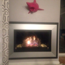 Fireplace with pink shark
