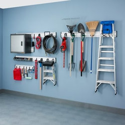 Gladiator Wall Solutions Pack - Give yourself some extra floor space and clean up your garage with the Gladiator Wall Solutions Pack. This high-quality steel device organizes ladders yard supplies and more on a wide selection of large hooks that keeps everything up and off the ground. You'll get all the essential peices as well as all the necessary installation supplies to make setup quick and easy. Don't clutter your equipment in the corner hang it high with the Gladiator Wall Solutions Pack! About Gladiator GarageWorksGladiator GarageWorks is the leader in workspace organization and for good reason. With a complete line of ultra-durable well-designed and heavily tested pieces that fit together in nearly infintite ways they've got exactly what you've been dreaming of for your garage. Gladiator uses the best materials and smart thinking to create a stylish modular system backed by a great set of warranties. When you want the most out of your space get after it with Gladiator.