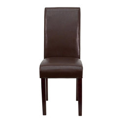 Flash Furniture - Flash Furniture Upholstered Parsons Chair in Dark Brown - Flash Furniture - Dining Chairs - BT350BRNLEA008GG - This Leather Parsons Chair will add contemporary sophistication to your dining room or living room. This chair can be used as an accent chair around the home when giving your home a more decorative appeal. The European designed side chair features brown leather upholstery while the frame and legs are constructed of solid wood. [BT-350-BRN-LEA-008-GG]