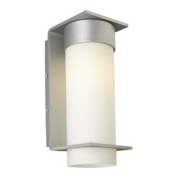 LBL Lighting - Palm Lane Large Outdoor Wall Sconce - Palm Lane large outdoor wall sconce features a clean-lined metal base with an opal glass cylinder. Finish available in black, bronze or silver. Available in a small or large size option. Fixture available with incandescent or compact fluorescent lamping option. Includes (1) 75 watt, 120 volt, A19 medium base incandescent lamp or (1) 26 watt, 120 volt, T4 GX24Q-3 base compact fluorescent lamp. General light distribution. ETL listed. Suitable for wet locations. 5.9W x 14.8H x 7.9 inch depth.