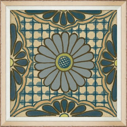Wendover Art - Garden Tile Blue - This elegant Giclee on Paper print adds a bit of flare to any space. A beautifully framed piece of art has a huge impact on a room for relatively low cost! Many designers and home owners select art first and plan decor around it or you can add artwork to your space as a finishing touch. This spectacular print really draws your eye and can create a focal point over a piece of furniture or above a mantel. In a large room or on a large wall, combine multiple works of art to in the same style or color range to create a cohesive and stylish space!