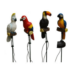 Pier Surplus - 4PK Solar Lighted Jungle Birds Stake Lights -- Landscape Ornament #SO10238 - Solar Lights are a perfect way to enhance safety, nighttime aesthetics, accessibility, and beauty to your yard. Using high quality materials, our solar lights will provide durability and long life for whether being used for a special occasion or light up your flower bed.