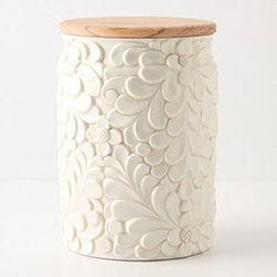 "Anthropologie - Verdant Canister - Clay, olive woodDishwasher safe8""H, 5.5"" diameterItaly"