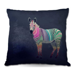 DiaNoche Designs - Pillow Linen - Monika Strigels Rainbow Zebra - Add a little texture and style to your decor with our Woven Linen throw pillows. The material has a smooth boxy weave and each pillow is machine loomed, then printed and sewn in the USA.  100% smooth poly with cushy supportive pillow insert with a hidden zip closure. Dye Sublimation printing adheres the ink to the material for long life and durability. Double Sided Print, machine wash upon arrival for maximum softness. Product may vary slightly from image.
