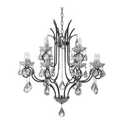 """Vienna Full Spectrum - Crystal Vienna Full Spectrum Maria 33"""" Wide Crystal Chandelier - Decorate any room with a dash of glamour and crystal glitter. This design from the Vienna Full Spectrum collection of chandeliers combines traditional clear crystal accents with a thin profile frame with chrome accents for an up-to-date stylish look. Each light has hanging crystal droplets and sits in a decorative bobeche cup holder. Takes twelve 40 watt candelabra style bulbs (not included). 33"""" wide.  Maria crystal chandelier.  Design is by Vienna Full Spectrum.  Thin profile frame with chrome accents.  Hanging clear crystal droplets.  Clear glass bobeches.   Takes twelve 40 watt candelabra style bulbs (not included).   Measures 35 3/4"""" high 33"""" wide.   Includes 6 feet of chain 14 feet of cord.  Canopy is 5"""" round.   Hanging weight is 33 lbs."""