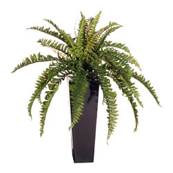 Vickerman - Medium Fern in Black Metal - Medium silk Boston Fern Matte Black Metal pot.