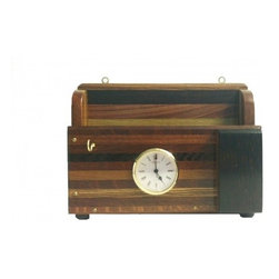 Exotic Chopping Blocks - Wood Desk Organizer - This is just the item you were looking for to clean up the clutter in a classy way! This organizer holds your keys, glasses, mail, and tells you the time all in one place. The glasses holder is made of the African wood, Wenge. Other woods in this piece include Zebra and Pau Ferro from  Africa, Australian Lace Wood, and Verawood from Venezula.