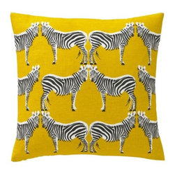 DwellStudio - Zebra Pillow by DwellStudio - An iconic deco motif gets added graphic punch in the DwellStudio Zebra Pillow. Against a vibrant background of Citrine, rows of black and white zebras stand face to face. They look at you, beckoning to be cuddled. Made of a hand printed linen/cotton blend with down feather insert. DwellStudio, founded in 1999 by Christiane Lemieux, specializes in home furnishings steeped in modern design. With a unique sense of color and a strong commitment to quality and innovation, DwellStudio continues to create its own distinctive interpretation of modern home furnishings. In the same creative spirit, the company encourages their customers to experiment with mixing various DwellStudio textile lines together.