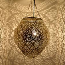 Mediterranean Outdoor Hanging Lights Silver Egg Lantern