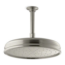 "Kohler - Kohler K-13693-BN Vibrant Brushed Nickel Rainhead Rainhead 10"" - 10"" Traditional round rain showerhead The new KOHLER Rainhead collection delivers the most comprehensive offering of rain showerheads available in the market today, providing an affordable and scalable showering solution that coordinates designs and finishes with the rest of the KOHLER faucets and accessories.  Elegant traditional styling creates the perfect complement to any period inspired custom shower installation Superior spray performance with Katalyst Spray Technology™ delivers a luxurious and drenching  rain  experience Optimized sprayface design creates a denser uniform spray pattern for consistent coverage and feeling of warmth MasterClean™ sprayface with translucent nozzles resists mineral buildup and ensures reliable performance for years to come 2.5 gallons per minute flow rate Solid brass construction ensures durability and reliability Comprehensive Finish Offering compliments KOHLER s complete faucet and accessory program"
