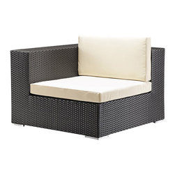 ZUO - Zuo Cartagena Outdoor Corner Chair in Espresso/Beige - Bring all you love about a sectional to the outdoors. Move the pieces around to suit your needs, utilizing this key corner piece to bring it all together.