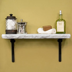 Polished Chiseled Edge Marble Shelf with Classic Brackets - This marble shelf is polished on all sides and features a chiseled edge to highlight the natural beauty of the stone. Simple shelf brackets with a classic design support the shelf.