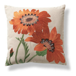 Grandin Road - Tournesol Pillow - Throw pillow embroidered with warm-hued sunflowers. Comfortable cotton/linen blend. Natural ground and backing. Hidden zipper. Polyfill insert included. Spruce up your seating with a fun and French-inspired accent: the Tournesol throw pillow features vibrant sunflowers substantially embroidered on a natural ground.  .  .  .  .  . Imported.