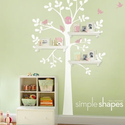 Shelving Tree Decal with Birdsby Simple Shapes