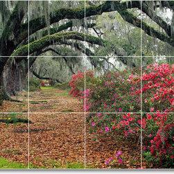 Picture-Tiles, LLC - Trees Leaves Picture Bathroom Tile Mural T018 - * MURAL SIZE: 12.75x17 inch tile mural using (12) 4.25x4.25 ceramic tiles-satin finish.