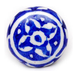 """Knobco - Floral Designs, Blue and white - Blue and white decorative cabinet hardware from Jaipur, India. Unique, hand painted cabinet knobs for your kitchen cabinets. 1.5"""" in diameter. Includes screws for installation."""