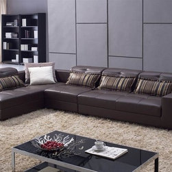 Rowern Adjustable Leather Sectional - With adjustable headrests, three separate pieces and soft leather upholstery, this Rowern Living Room Sectional brings style and versatility to your decor.