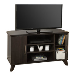South Shore - South Shore Caraco Corner TV Stand in Mocha - South Shore - TV Stands - 4079629 - This TV stand from the Caraco Collection with its timeless elegance also features angled wooden legs and nicely worked edges that will enhance the rooms d��cor. The look of this piece - a blend of the modern and the Traditional - gives it a refined cla