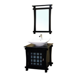 Bellaterra Home - 30 Inch Single Sink Vanity-Wood-Black - Perfect for a minimalist! Espresso finish with a contemporary Asian design, fitted with an upraised vessel-style square sink for a distinctive look. Solid wood construction and features antique hardware on doors to accentuate the luxury look.. Vanity dimension: 29.9 W x 22 D x 29.7 H