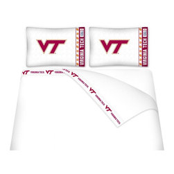 Sports Coverage - Sports Coverage NCAA Virginia Tech Hokies Microfiber Sheet Set - Twin - NCAA Virginia Tech Hokies Microfiber Sheet Set have an ultra-fine peach weave that is softer and more comfortable than cotton! This Micro Fiber Sheet Set includes one flat sheet, one fitted sheet and a pillow case. Its brushed silk-like embrace provides good insulation and warmth, yet is breathable. It is wrinkle-resistant, stain-resistant, washes beautifully, and dries quickly. The pillowcase only has a white-on-white print and the officially licensed team name and logo printed in team colors. Made from 92 gsm microfiber for extra stability and soothing texture and 11 pocket. Get your NCAA Sheets Today.   Features:  -  92 gsm Microfiber,   - 100% Polyester,    - Machine wash in cold water with light colors,    -  Use gentle cycle and no bleach,   -  Tumble-dry,   - Do not iron,
