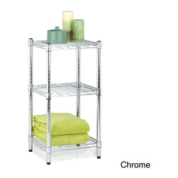 Honey Can Do - Honey Can Do 3-tier Steel Wire Shelving Tower - Make organizing your bathroom easy with this adjustable steel wire shelving tower. Made of steel with a chrome finish, each shelf can hold up to 200 pounds. Featuring three shelves, this product can easily be stacked and adjusted.