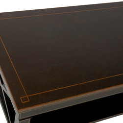 "Chinoiserie Criss-Cross Coffee Table (ON SALE) - The black/gold handmade and hand-painted criss-cross coffee table with one lower shelf is made of wood. Size: 40"" x 24"" x 18""H. Care: wipe with a cloth"