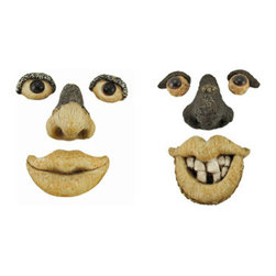 Bark Buddies Pair of Tree Man Faces - Complement the natural beauty of your favorite trees with these fun faces, it will make people look twice and bring a smile to their faces! Each piece is crafted from an all-weather stone, and will stand up to the elements year after year. Display them as pictured, or get creative and stretch the faces out for a cool effect. Each piece has a hanger in the back for a single nail to attach them securely to your tree.