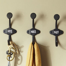 Schoolhouse Numbered Hooks - Hooks are a great addition for hanging towels or damp clothing. I love the vintage feel of these numbered ones.
