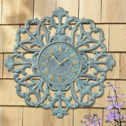 Frontgate - Medallion Outdoor Clock - Offered in two weather-resistant finishes. Suitable for both indoor and outdoor use. Each piece operates on one AA battery (not included); lithium batteries recommended. Beautiful scroll work breaks the mold on the ubiquitous, round outdoor clocks and thermometers. Botanical forms, hand-cast in aluminum, surround the easy-to-read dials.  .  .  .