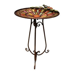Alpine - Colorful Metal Birdbath with Bird and Leaves - Features:Dimensions: