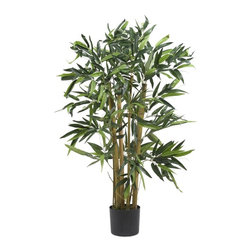 3' Biggy Bamboo Silk Tree - Picture yourself on a tropical island getaway as you admire this elegantly styled Biggy Bamboo Tree. Despite its name, this 3 foot palm fits nicely in any small space. Over four-hundred rich bold ample sized leaves embellish this small but majestic looking tree. All natural neutral-toned trunks are a nice compliment to the lush greenery. Standing gracefully in a basic black planter, this lovely bamboo makes a wonderful addition to any home or office space. Height= 3 ft x Width= 28 in x Depth= 28 in