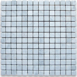 "Stone Center Corp - Carrara Marble Square Mosaic Tile 3/4x3/4 Tumbled - Carrara white marble 3/4"" x 3/4"" square pieces mounted on 12"" x 12"" sturdy mesh tile sheet"