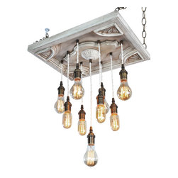 Industrial Lightworks - Urban Chic Nostalgic Lighting - 9 Edison Bulb Pendants - THIS PIECE IS READY TO SHIP AND IS A ONE OF A KIND MADE TO ORDER CHANDELIER