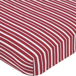 Sweet Jojo Designs - Pirate Treasure Cove Striped Sheet - The Pirate Treasure Cove fitted crib sheet will help complete the look of your Sweet Jojo Designs nursery. This red and white stripe cotton sheet fits all standard crib and toddler mattresses and is machine washable for easy care. Dimensions: 52 in x 28 in x 8 in.
