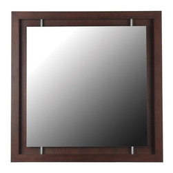 """Kenroy Home - Kenroy Home 60031 34"""" Contemporary Wall Mirror Potrero Collection - 34"""" Contemporary Wall Mirror from the Potrero CollectionKenroy Home offers the finest in decor, performance, and value.  Their chandeliers, ceiling lighting and indoor and outdoor wall lighting capture the essence of lighting technology, and combine it with styling points of view ranging from classical and traditional, to contemporary and casual.  Kenroy lamps and portable lighting utilize a wide variety of materials, and create artistic elements that complement your home furnishings as well as make their own statements.  Particular care is paid to hand applied polishing and painting, matched with the finest in glass and shade treatments.  Fountains are the latest Kenroy Home category entry, and are designed and crafted to blend with various interior and exterior decors. They add soothing movement and the gentle sounds of falling water to unique artistry created in real and simulated stone, metal and ceramics.A deeply beveled geometric frame with a rich Mahogany finish and subtle metal accents raises Potrero's design statement to new heights."""
