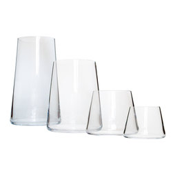 Martinka Crystalware & Lifestyle - Cocktail Tumblers, Gift Set of 24 - The crystal tumbler cocktail is a perfect set for housewarmings, wedding gifts and home entertaining. The 24 piece cocktail tumbler set consists of 6 pieces from the Tall Boy Tumbler Set, 6 pieces from the Colada Tumbler Set, 6 pieces from the Martinki Tumbler Set and 6 pieces from the Downtown Nights Shot Glasses Set. Each piece is handmade from ultra light weight glass, and exhibits a conical shape allowing the tumblers to easily stack  sideways. These elegant yet simple cocktail tumblers are perfect for entertaining or even for daily use.