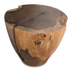 Francisco Coffee Table - This table is crafted from an actual tree trunk. Shown in Guayubira. Dimensions may vary slightly from piece to piece.