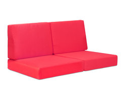 ZUO VIVA - Cosmopolitan Sofa Cushions Red - Metallic and natural, seductively combined to create the sexy Cosmopolitan sofa. The frame is forged from aluminum and the wood slats are polyurethane simulated wood. The cushions are UV and water resistant. Sit back, relax, and let mother nature take care of you.