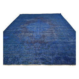 Overdyed Semi Antique Tabriz Denim Blue Oversize 11x17 Hand Knotted Rug Sh17814 - The Overdyed and Patchwork hand knotted rug, represents one of the hottest trends in the industry today. Each Overdyed rug is stripped of its original colors, then dyed again in vibrant hues, to create unique and one-of-a-kind pieces. The Patchwork rug is handcrafted out of salvaged, vintage carpets, with a variety of colors combining to form a wholly unique and textured design.