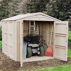 Suncast 7.5 x 7.5 ft. Storage Shed - Dimensions: Exterior dimensions: 7.81W x 7.9D x 7H ft. Interior dimensions: 7W x 7D x 6.5H ft. Door dimensions: 5.19W x 5.88H ft. The Suncast 8 x 8 Foot Storage Building can accommodate larger items like patio furniture or lawn tractors, thanks to its 311 cubic feet of space. An extra-wide front opening allows easy removal and replacement of your yard tools and other accessories. With a strong corner-column construction, this resin shed is highly durable and can withstand the harshest elements to stay dry at all times. Lockable doors with upper and lower latches ensure the security of your property. Clean lines, attractive taupe color, and versatile function make this storage building the perfect backyard storage solution. Large panels allow fast snap-together assembly. About Suncast CorporationSuncast is known for its high-quality, low-maintenance storage products and accessories. Organize gardens, back yards, garages, basements, and more. Suncast's full line of products includes everything from storage lockers to sheds and bins. Suncast pieces are designed for low-maintenance, worry-free performance that's versatile enough to suit your every need.