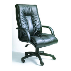 BOSS Chair - High Back Italian w Knee Tilt in Black - Supple Italian leather and the latest ergonomic design are the hallmarks of this office chair. You may never want to leave the office again! Deep padded seat and back offer superior support, as does the curved arms. Double wheel casters get you going in the right direction. Italian executive leather chair. Beautifully upholstered with imported Italian top grain Leather. Executive High Back styling with extra lumbar support. Pneumatic gas lift seat height adjustment. Adjustable tilt tension control. Upright locking position. Leather upholstered armrests. Large 27 in. nylon base for greater stability. Hooded double wheel casters. Arm Height: 26 - 30 in. H. Seat Size: 23 in. W x 22 in. D. Seat Height: 19 - 23 in. H. Overall Size: 28 in. W x 33.5 in. D x 45 - 49 in. H. Weight Capacity: 250 lbs.