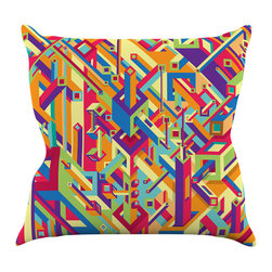 """Kess InHouse - Roberlan """"Buracos"""" Abstract Multicolor Throw Pillow (16"""" x 16"""") - Rest among the art you love. Transform your hang out room into a hip gallery, that's also comfortable. With this pillow you can create an environment that reflects your unique style. It's amazing what a throw pillow can do to complete a room. (Kess InHouse is not responsible for pillow fighting that may occur as the result of creative stimulation)."""