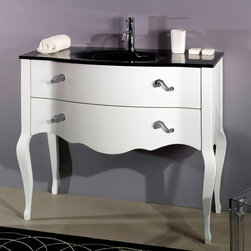 Iotti - 2 Drawers Vanity Cabinet with Integrated Glass Sink - Contamination of styles and color effects, baroque lines and modern finishes, Boheme is the eclectic style of those who wish to stand out in terms of originality, with a note of classic elegance. Made in Italy. Integrated black glass sink. Faucet not included. All drawers feature soft-close runners. The engineered wood vanity is made with waterproof panels. Single vanity features 2 drawers.