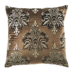 """Canaan - 24"""" x 24"""" Taj Mahal Brown Damask Pattern Throw Pillow - Taj mahal brown damask pattern throw pillow with a feather/down insert and zippered removable cover. These pillows feature a zippered removable 24"""" x 24"""" cover with a feather/down insert. Measures 24"""" x 24"""". These are custom made in the U.S.A and take 4-6 weeks lead time for production."""