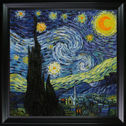 overstockArt.com - Van Gogh - Starry Night - Need Help Decorating your Home? Click Here to get Inspired! Hand painted oil reproduction of one of the most famous Van Gogh paintings, Starry Night. The original masterpiece was created in 1889, today it has been carefully recreated detail-by-detail to near perfection as a complete canvas art reproduction. One of today's most recognized paintings, Starry Night by Vincent Van Gogh is a classic painting that invokes emotions from the serenity of the church steeple to the wild abandon of color used for his late night sky. Imagine the movement of the painter as he twists and turns his brush to create the dance between the stars and the clouds under the calm, peaceful village. Vincent Van Gogh's restless spirit and depressive mental state fired his artistic work with great joy and, sadly, equally great despair. Known as a prolific Post-Impressionist, he produced many paintings that were heavily biographical. This work of art has the same emotions and beauty as the original by Van Gogh. Why settle for a print when you can add sophistication to your rooms with a beautiful fine gallery reproduction oil painting?