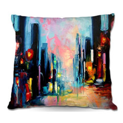 DiaNoche Designs - Pillow Woven Poplin by Aja Anns Faces of the City 148 - Toss this decorative pillow on any bed, sofa or chair, and add personality to your chic and stylish decor. Lay your head against your new art and relax! Made of woven Poly-Poplin.  Includes a cushy supportive pillow insert, zipped inside. Dye Sublimation printing adheres the ink to the material for long life and durability. Double Sided Print, Machine Washable, Product may vary slightly from image.